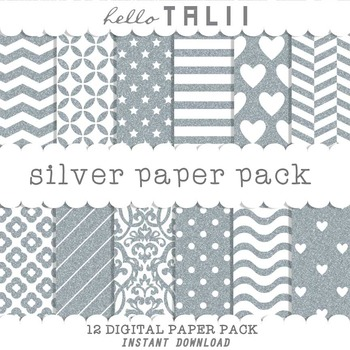 Digital Paper: Silver and White Patterns