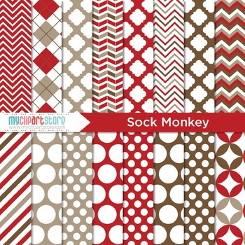 Digital Paper - Sock Monkey (Classic Red)