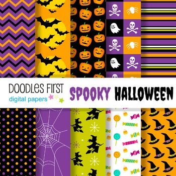 Digital Paper - Spooky Halloween great for Classroom art projects