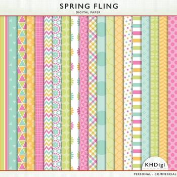"""Digital Paper - """"Spring Fling""""  Blue Green Pink Orange"""
