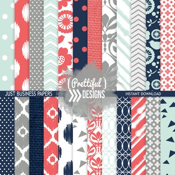 Digital Paper Coral Navy Gray Ikat Chevron Background - Ac