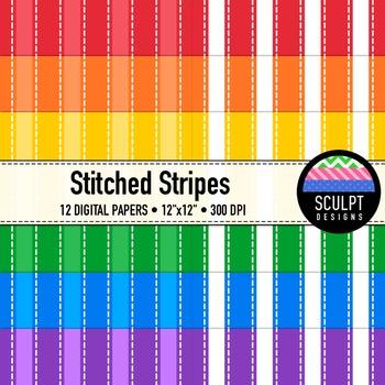 Digital Paper ~ Stitched Stripes ~ Bold Colors