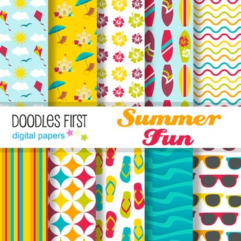 Digital Paper - Summer Fun great for Classroom art projects