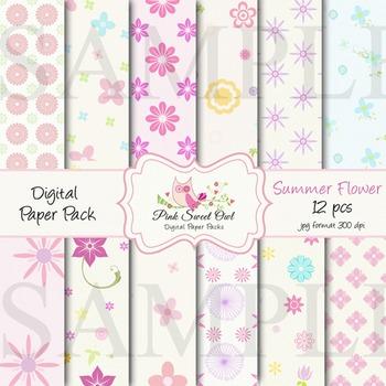 Digital Paper - Summer flower paper background