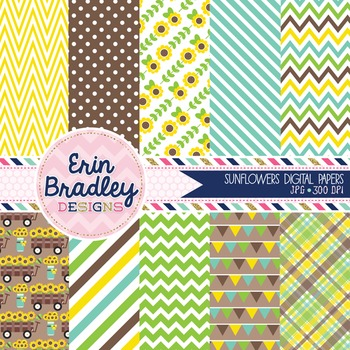 Digital Paper - Sunflowers Background Patterns