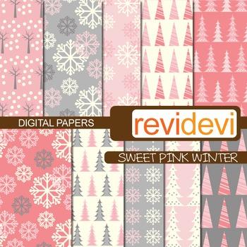 Digital Paper Sweet Pink Winter (background) trees, snowflakes