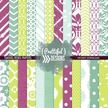 Digital Paper Teal Purple Lime Ikat Chevron Background - T