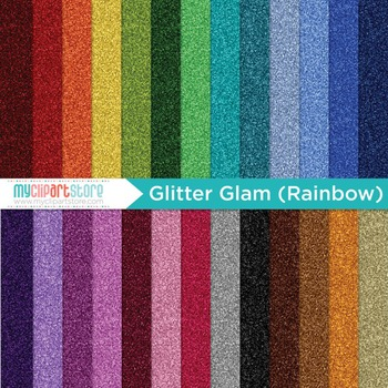 Digital Paper Texture - Glitter Glam Rainbow / Fine Glitte