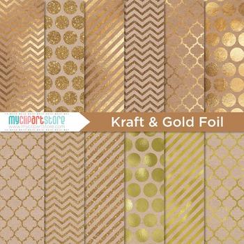 Digital Paper Texture - Kraft Paper / Gold Foil / Glitter