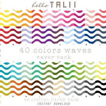Digital Paper: Thin Waves Pattern + Gold and Silver Waves