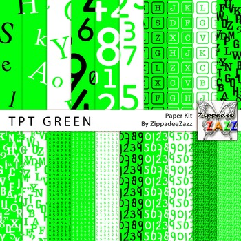 TpT Teachers Alphabet and Numbers Green Paper or Backgrounds