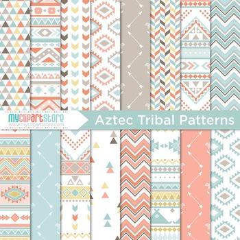 Digital Paper - Tribal Patterns / Aztek / Native American Indian