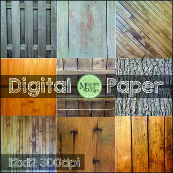 Digital Paper Various Wooden Textures and Backgrounds {Mes