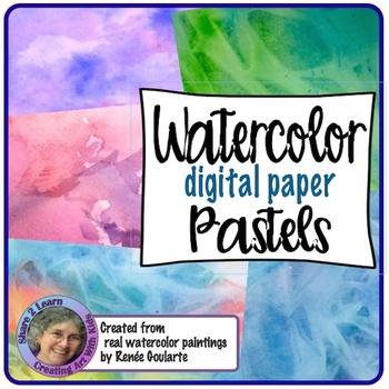 Digital Paper Watercolor Backgrounds Pastels