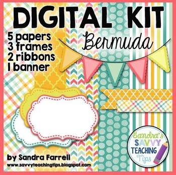 Digital Paper and Frame Mini Kit  BERMUDA