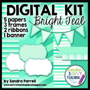 Digital Paper and Frame Mini Kit BRIGHT TEAL