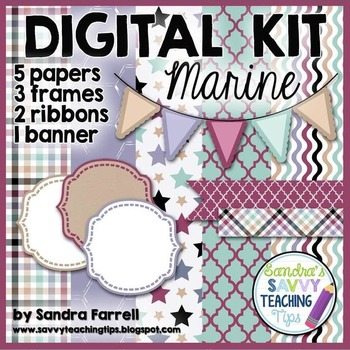 Digital Paper and Frame Mini Kit MARINE
