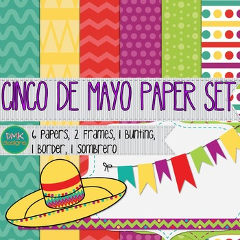 Digital Paper and Frame Set- Cinco De Mayo