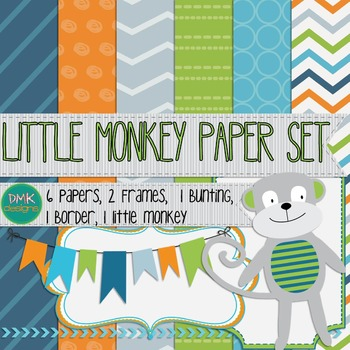Digital Paper and Frame Set- Clipart- Little Monkey