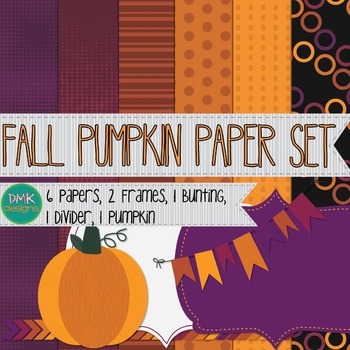 Digital Paper and Frame Set- Fall Pumpkin