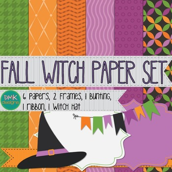 Digital Paper and Frame Set- Fall Witch
