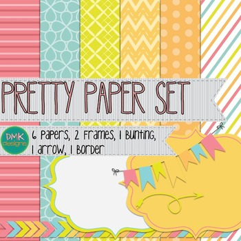 Digital Paper and Frame Set- Pretty