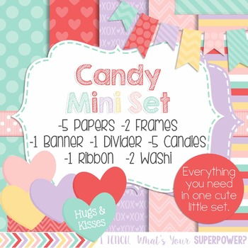 Digital Paper and Frame Valentines Candy Mini Set