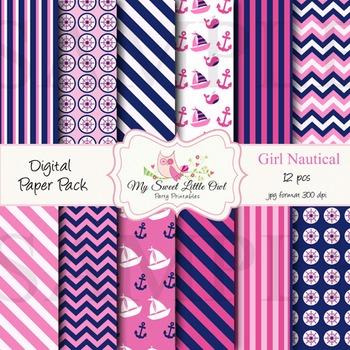 Digital Paper - pink & blue nautical paper background