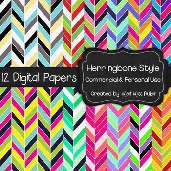 Digital Papers - 12 Herringbone Papers for Commercial & Pe
