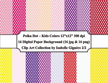 Digital Papers - 16 Polka Dot Kids Colors #2 of 2 (Commerc