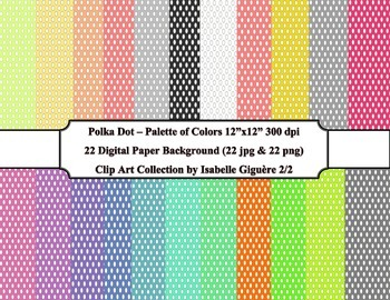 Digital Papers - 22 Polka Dot Palette of Colors #2 of 2 (C
