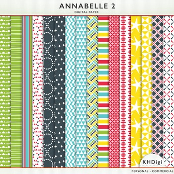 "Digital Papers - ""Annabelle 2"", Navy, Blue, Red, Yellow and Green"