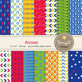 Arrows in Primary Colors Digital Papers
