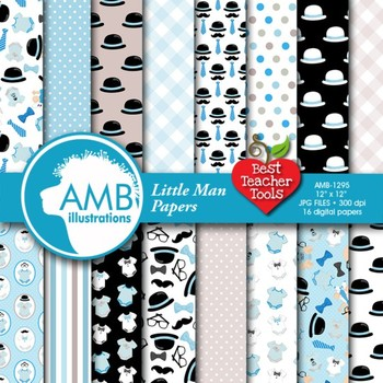 Digital Papers - Baby Boy digital paper and backgrounds, AMB-1295