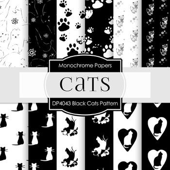 Digital Papers - Black Cats Pattern (DP4043)