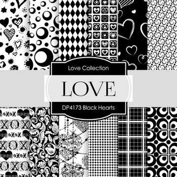Digital Papers - Black Hearts (DP4173)