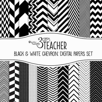 Digital Papers: Black & White Chevron Styles