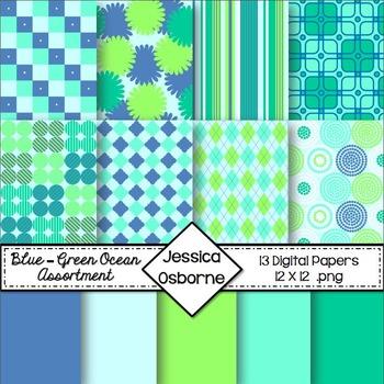 Blue-Green Ocean Digital Papers