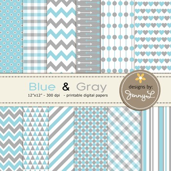 Digital Papers : Blue and Gray colors