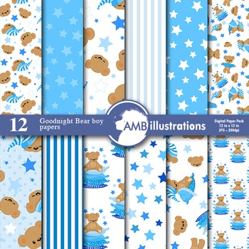 Digital Papers - Boys Nursery Teddy bear digital paper and