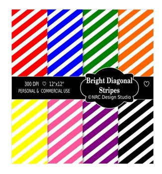 Bright Diagonal Stripes Digital Papers - Printable Papers
