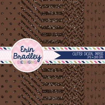 Digital Papers - Brown Glitter