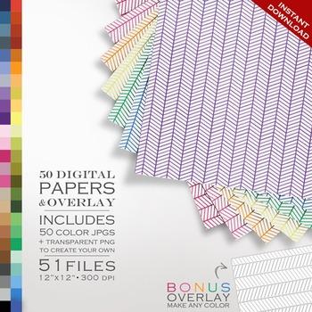 Digital Papers - Chevron Color Lines