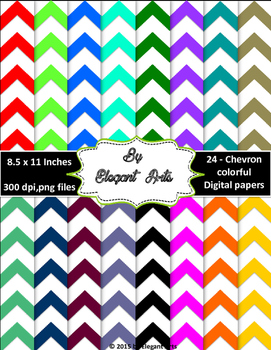 Digital Papers - Chevron Designs with Bright colors
