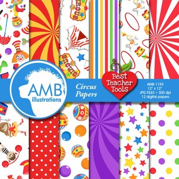 Digital Papers, Circus Carnival Digital Papers and backgro