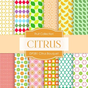 Digital Papers - Citrus Bouquet (DP281)