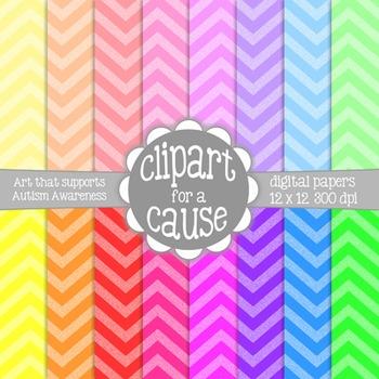 Digital Papers: Colorful 2 Tone Chevron Scrapbook Paper -