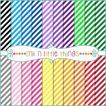 Digital Papers - Colorful Diagonal Stripe Backgrounds