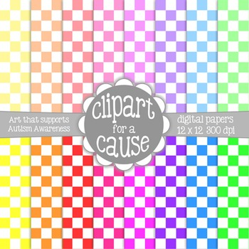 Digital Papers: Colors & White Checkerboard Scrapbook Pape
