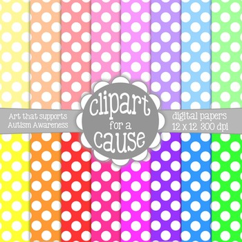 Digital Papers: Colors & White Polka Dots Scrapbook Paper